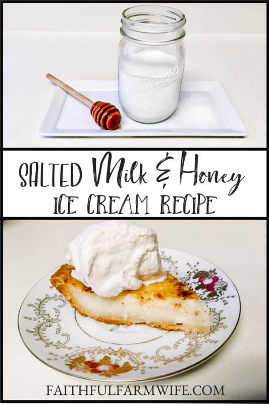 Salted Milk and Honey Ice Cream is my family's favorite frozen treat! Check out the 5 ingredient homemade ice cream recipe for yourself! #NationalDairyMonth #MilkAndHoney #HomemadeIceCream #FrozenTreat #DessertRecipe