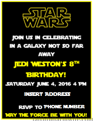 Throwing A DIY Star Wars Birthday Party Faithful Farmwife - Star wars birthday invitation diy