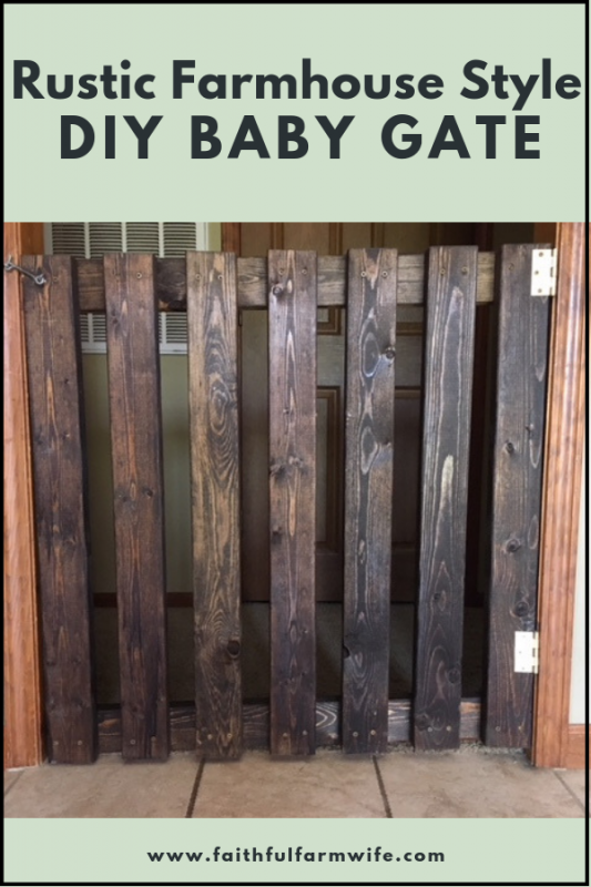 Ready to take your home back from the reign of a curious & mobile child? Build this simple & affordable farmhouse style diy baby gate to help you out! #babygate #diy #farmhousestyle #rusticdiy #makeyourown