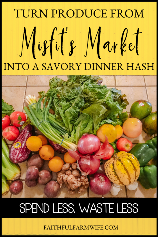 Not sure what to make with the hodge podge of ingredients that you have in your pantry? This Dinner Hash Recipe is my bottom of the pantry go-to! #bottomofpantry #dinnerhash #leftoverproduce #misfitsmarket #dinnerrecipe