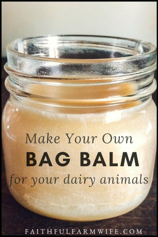 If you have dairy animals then you know the importance of keeping udders from drying and cracking. Find out how to make your own homemade Bag Balm here! #BagBalm #Dairy #DairyAnimals #FarmAnimalCare #Homesteading