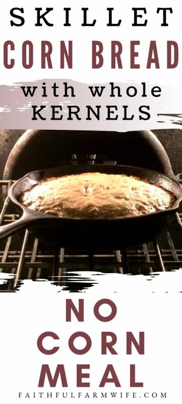 Want to make cornbread, but you are out of cornmeal?? Use this recipe for moist & delicious skillet cornbread with no cornmeal! You won't regret it! #CornBread #SkilletCornbread #NoCornMeal #FromScratch