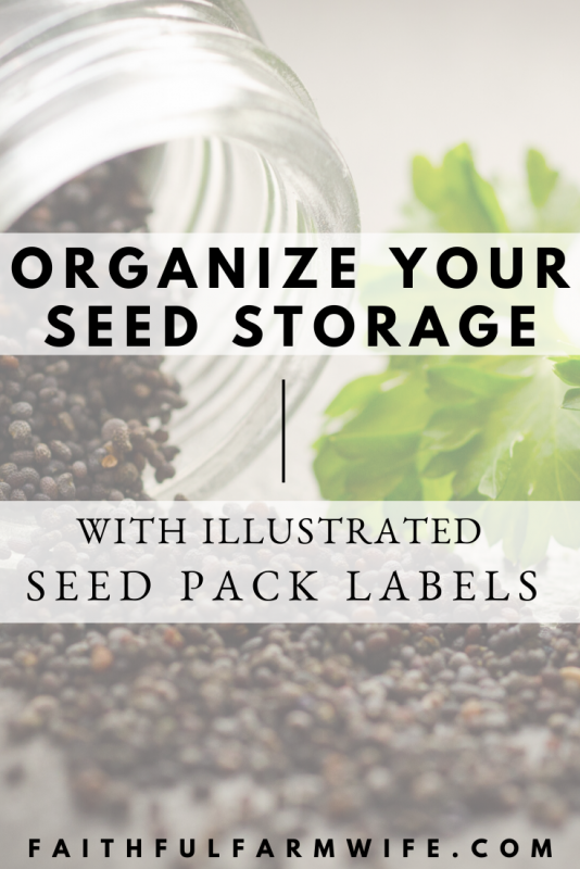 Do you save seeds from your garden for future use? Organize your seed inventory / seed bank with these illustrated seed pack labels. #gardening #seedbank #seedinventory #saveseeds #seedsaving #seedpacklabel #seedlabel