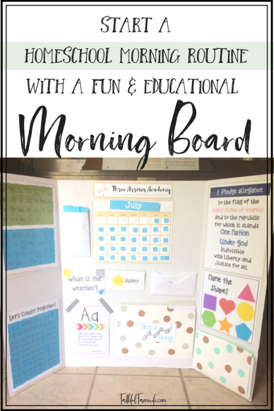 Start your homeschool mornings off right with a fun & educational morning board! Easy as 1, 2, 3... 1)Print 2)Laminate 3)Attach to board! #morningboard #homeschool #morningswithkids