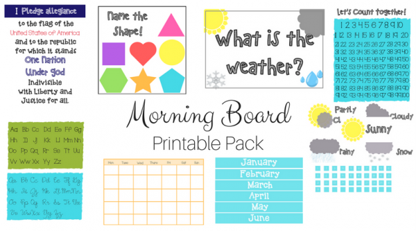 Start your homeschool mornings off right with a fun & educational morning board! Easy as 1, 2, 3... 1)Print 2)Laminate 3)Attach to board!