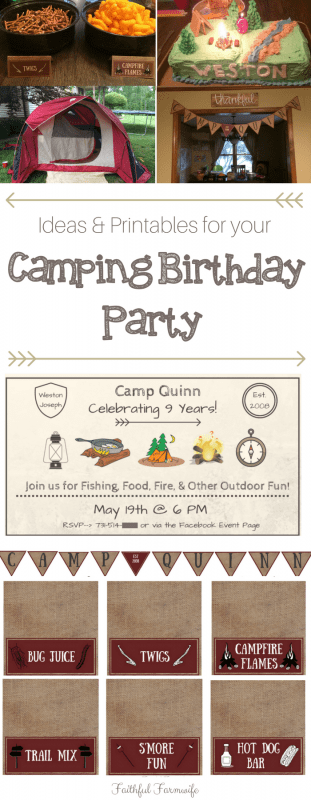 My son just turned 9 and he chose to celebrate his birthday by spending the night under the stars. Check out our Camping Birthday Party Ideas & Printables!