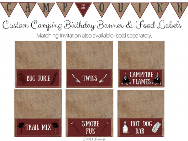 Camping Birthday Party Ideas Printables
