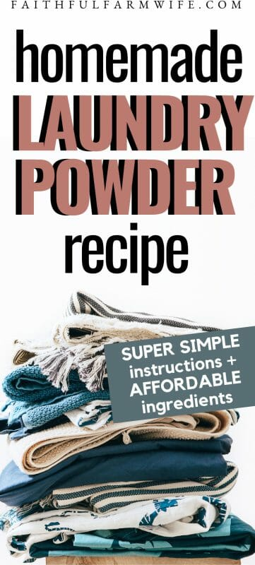 Intrigued by the idea of making your own homemade laundry powder? Check out this recipe, tutorial, and cost breakdown to see if it will work for you!! #homemade #laundrypowder #homemadelaundrypowder #diylaundry #homemadehousehold