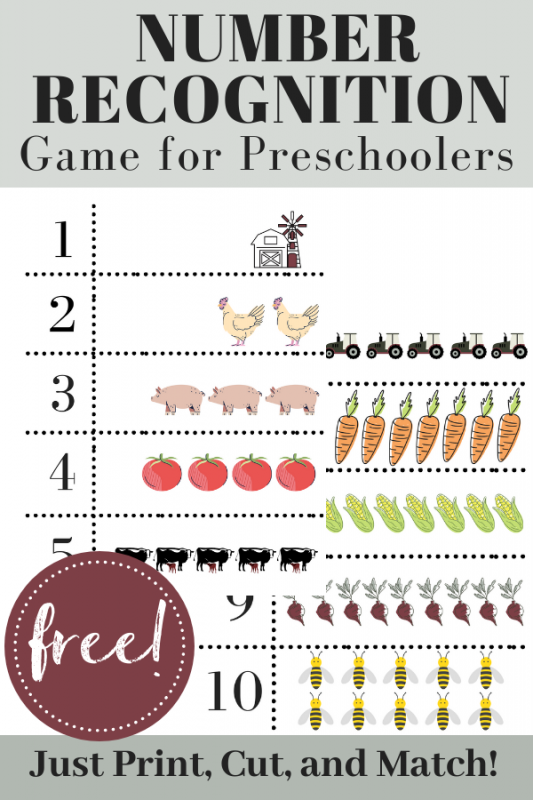 Help your child recognize the numbers 1-10 by matching them to the correct farm-themed image. FREE download! #numberrecognition #mathgame #homeschoolmath #homeschoolgame #homeschooling #preschool #preschoolmath #matching