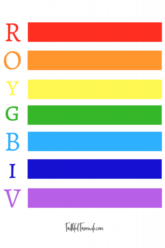 Download this free Rainbow printable to teach your kiddos the order of the colors in the rainbow! #Rainbow #ROYGBIV #TeachColors