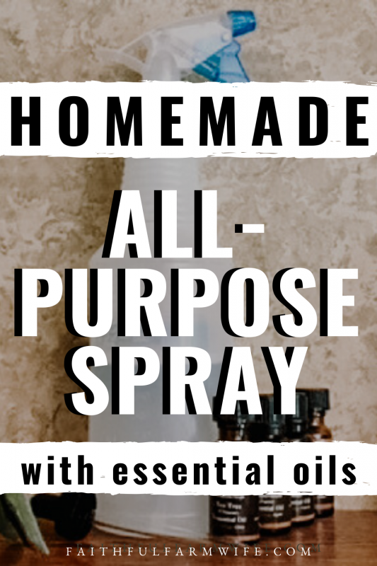 I use this Homemade All-Purpose Spray on everything from my kitchen to bathrooms & bedrooms. I even use it to spot mop my floors! Seriously amazing stuff! #GreenCleaning #HomemadeCleaning #AntibacterialSpray #Essential Oils