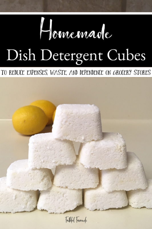 Making my own cleaning supplies allows me to save money and use ingredients that aren't harsh. Check out my Simple, Safe, and Affordable Borax-Free Homemade Dish Detergent Cubes here! #homemade #dishdetergent