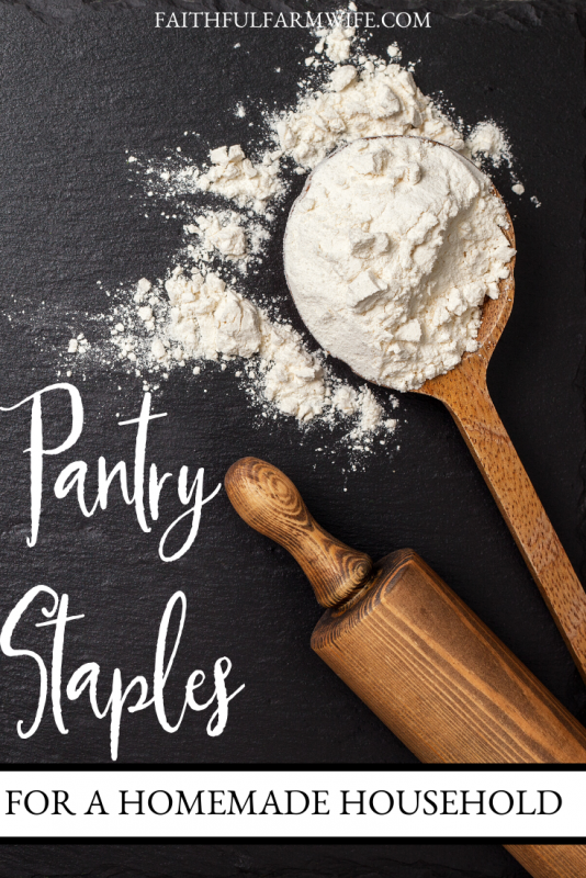 Keeping a pantry full of ingredients instead of pre-made meals has its perks. Check out my Pantry Staples Checklist and use it to create your own homemade household! #pantrystaples #homemade #homemadehousehold #homemaking #fromscratch