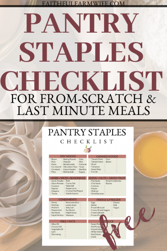 Keeping a pantry full of ingredients instead of pre-made meals has its perks.Use this Pantry Staples Checklist to create your own homemade household!