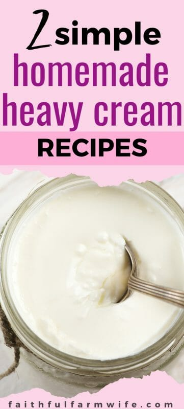 Keep these simple homemade heavy cream recipes handy for use as coffee creamer or in just about any recipe that requires heavy cream. #homemade #heavycream #pantrystaples #homemaking #fromscratch
