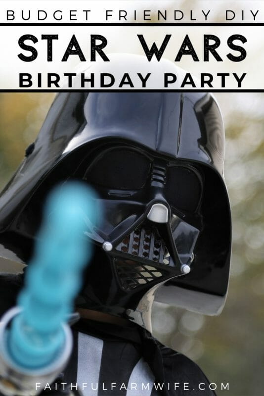 Throw a Star Wars Birthday Party to remember without breaking the bank! Complete with a Death Star Piñata, Pool Noodle Light Sabers, and free printables! #StarWars #StarWarsParty #StarWarsDIY #BirthdayParty #BudgetBirthday #BirthdayDIY