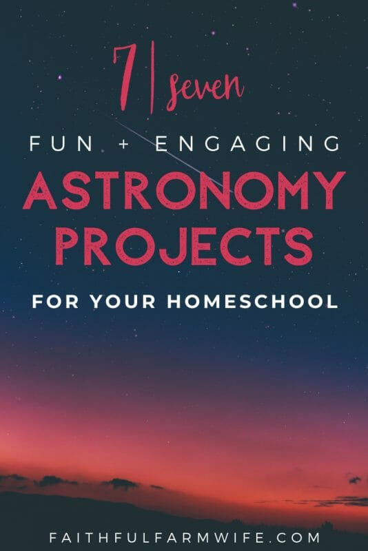 These homeschool astronomy projects are simple to complete and perfect for elementary students! Check them out here and try them with your kiddos! #homeschool #astronomy #homeschoolscience