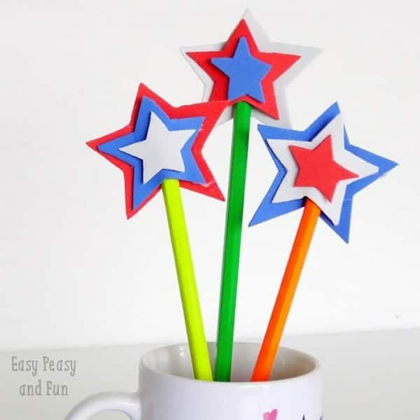 Red, White, and Blue Pencil Toppers | Simple 4th of July Craft Ideas + 4th of July  Recipes | Faithful Farmwife