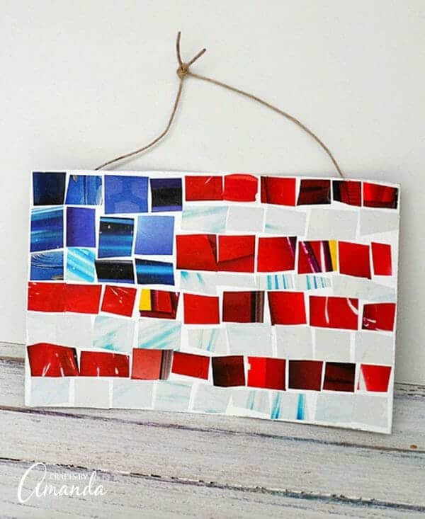 Magazine Mosaic Flag | Simple 4th of July Craft Ideas + 4th of July  Recipes | Faithful Farmwife