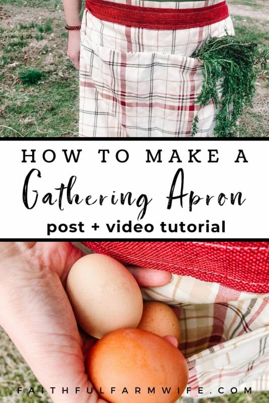 Need an efficient way to bring in eggs from the henhouse & produce from the garden? Make this simple 4-pocket pillowcase gathering apron! #gatheringapron #harvestapron #aprontutorial #sewingtutorial #eggapron #produceapron #homesteadsewing