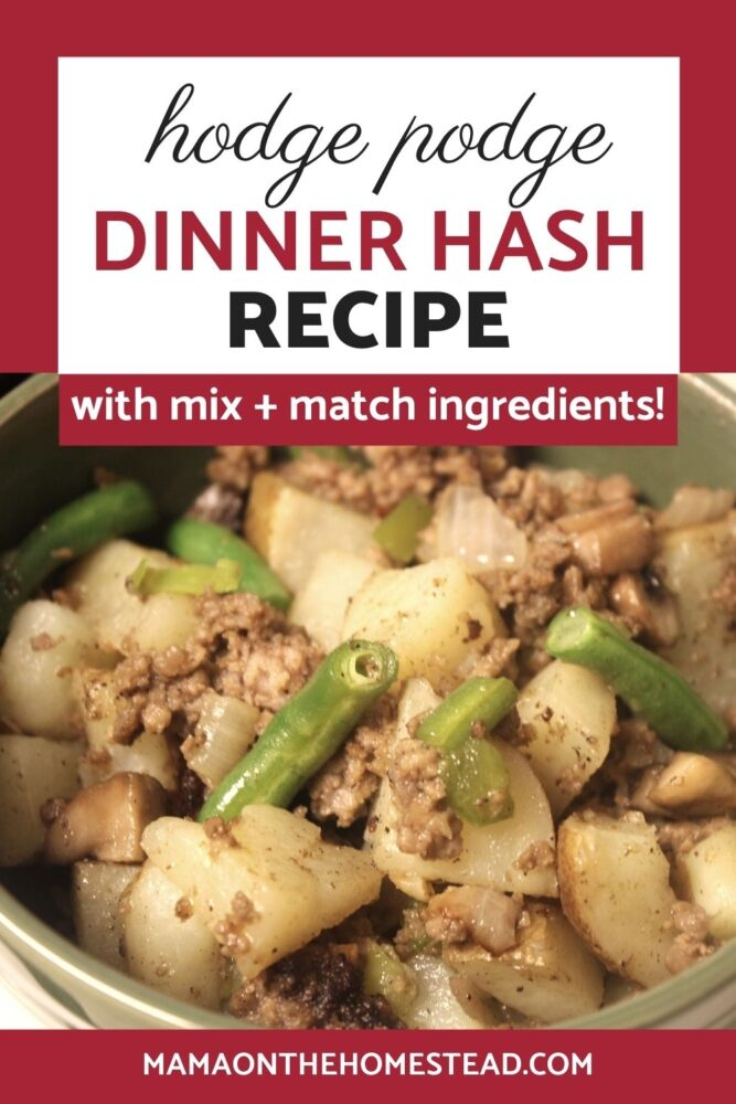 Image of dinner hash with potatoes, onions, garlic, and green beans   Words: Hodge Podge Dinner Hash Recipe with mix + match ingredients!   Mama on the Homestead