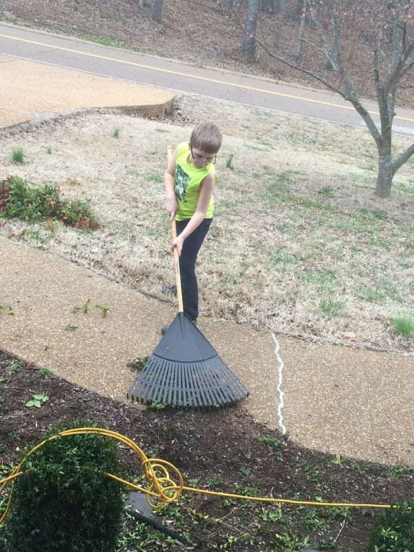 Boy raking leaves out of garden bed | 9 Simple Tips for Implementing Farm Chores for Kids | Faithful Farmwife