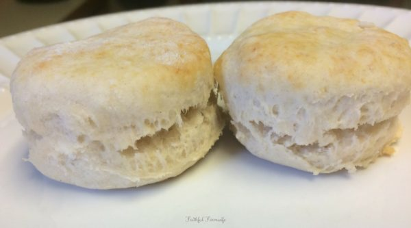 Homemade Biscuites on a White Plate | How to Make Flaky Homemade Biscuits | Faithful Farmwife