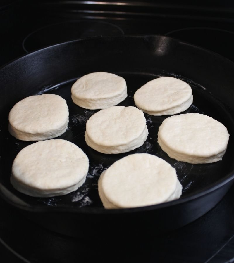 Biscuit dough on cast iron skillet