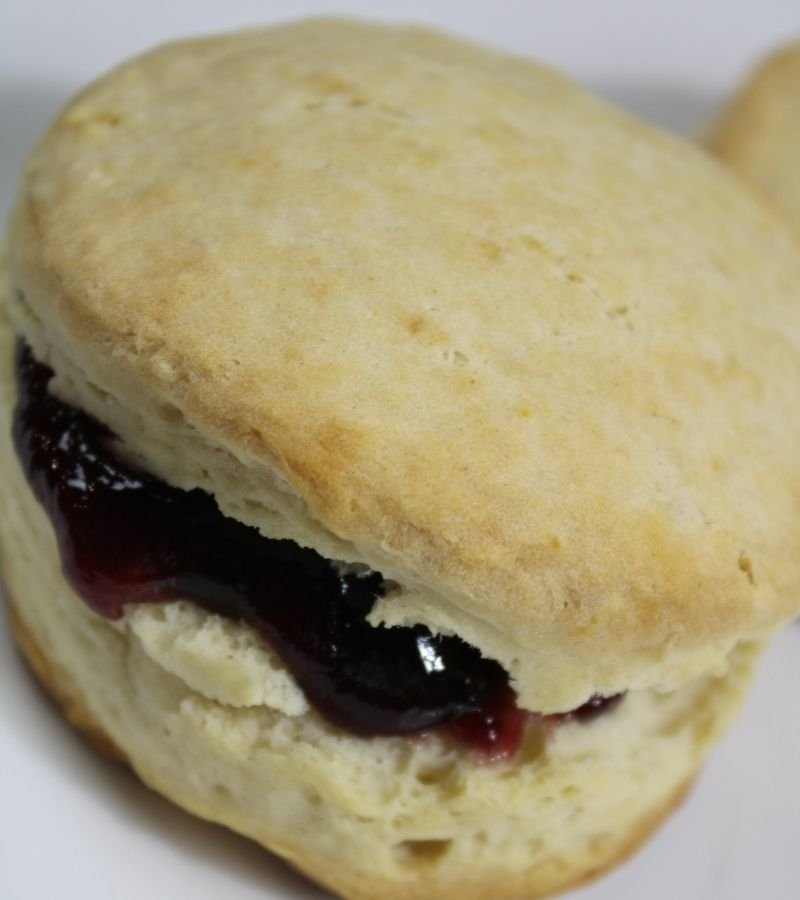 Homemade Fluffy Biscuit and jelly
