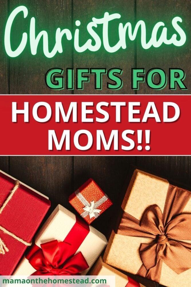 Image of Christmas gifts on barnwood background | Christmas Gifts for Homestead Moms | Mama on the Homestead