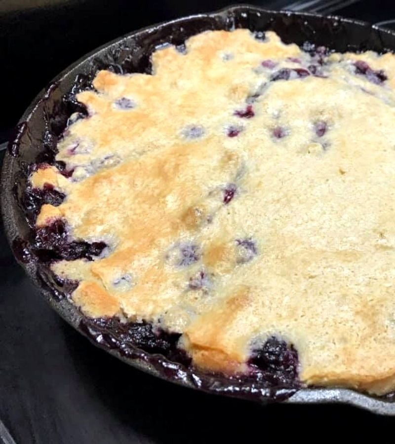 Blueberry Cobbler in a Cast Iron Skillet | Mama on the Homestead