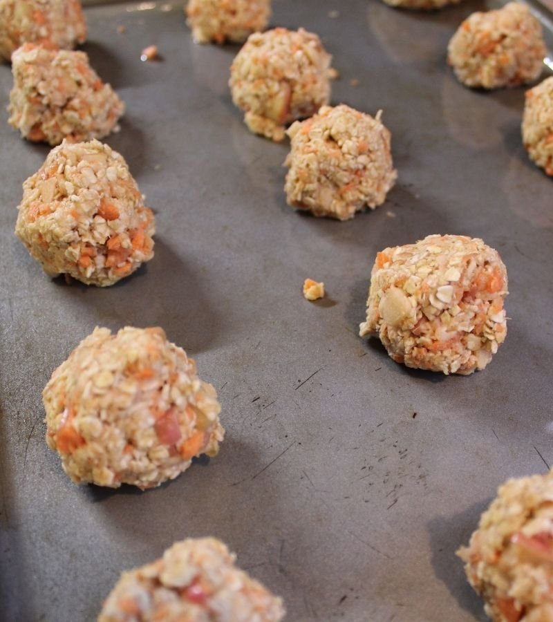 Uncooked horse treats on a cookie sheet