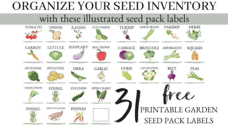 Organize Your Seed Inventory with these illustrated seed pack labels | 31 FREE Printable Garden Seed Pack Labels | Mama on the Homestead