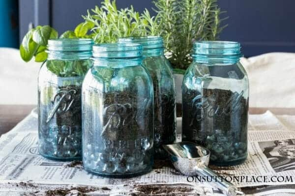 Mason Jar Planting Container | 30+ of the Best Mason Jar Uses for Your Home | Faithful Farmwife