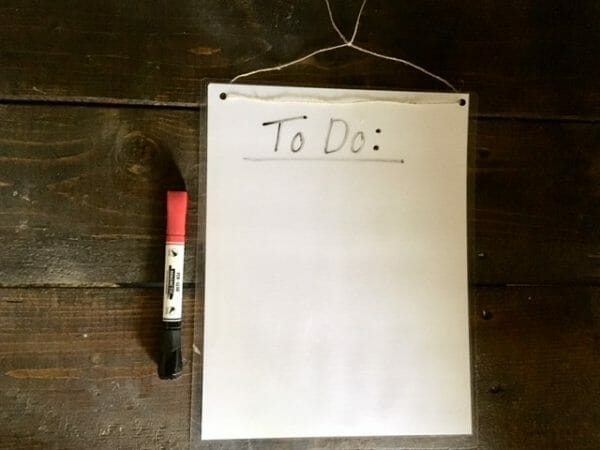 Dry Erase To-Do List | 17 Ways to Reduce Paper Waste at Home | Faithful Farmwife