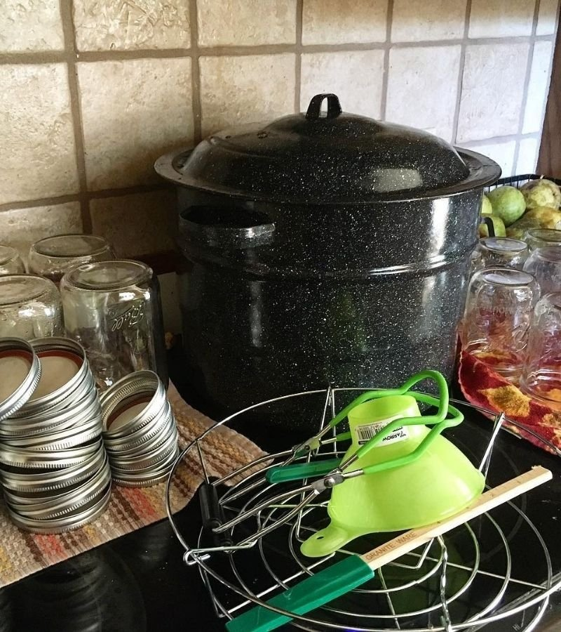 Hot water bath canner, mason jars, and pears on a countertop | 30+ Basic Homestead Skills You Need to Learn | Mama on the Homestead
