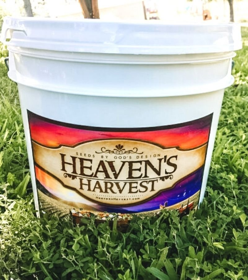 Large White seed bucket with Heaven's Harvest Sticker on the front | Mama on the Homestead