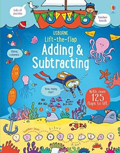 Usborne Lift-the-Flap Adding & Subtracting | 29 of the Best Right-Brain Homeschool Math Resources | Faithful Farmwife
