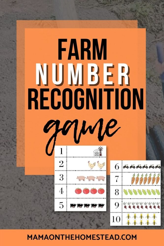 Image of farm number recognition game printable sheets | Words: Farm Number Recognition Game | Mama on the Homestead
