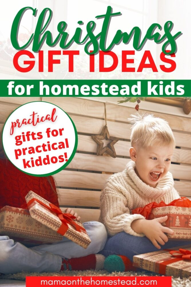 Image of excited kids opening Christmas gifts   Christmas Gift Ideas for Homestead Kids: Practical Gifts for Practical Kiddos   Mama on the Homestead