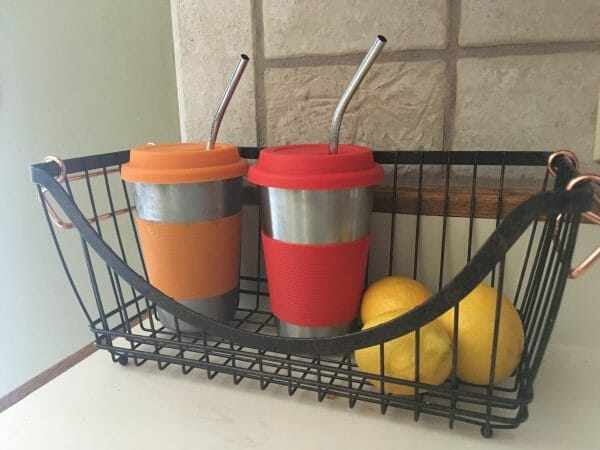 Stainless Steel Cups with Straws | 17 Ways to Reduce Paper Waste at Home | Faithful Farmwife