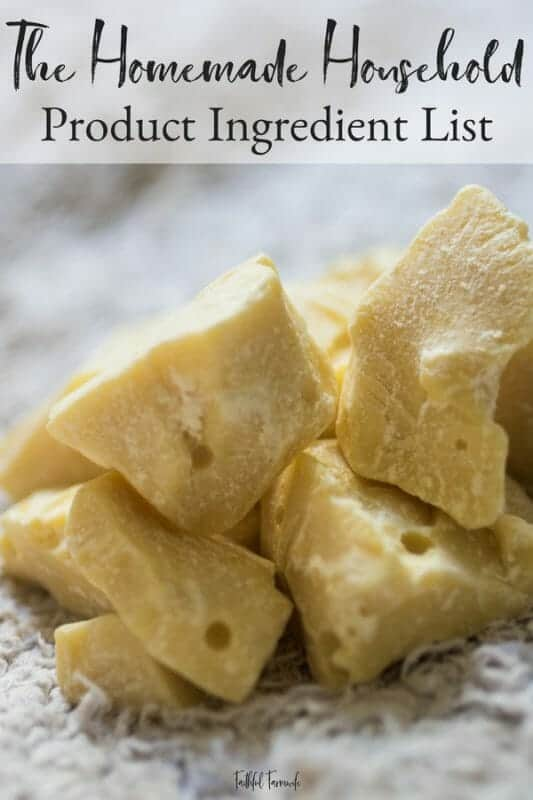 If you are wondering where to find the ingredients for the products found in The Homemade Household, look no further. This product ingredient list includes links to all of the recommended ingredients for the bath & body, household cleaning, and barn & garden products. #homemadehousehold #productingredients #diy #homemade