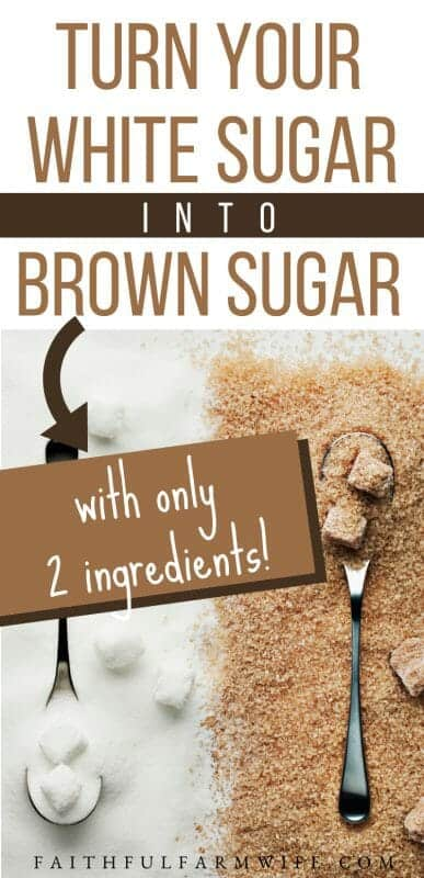 Did you know that you can make your own homemade brown sugar (light or dark) with just white sugar and molasses? Find out how! #homemade #brownsugar #brownsugarrecipe #pantrystaples #pantrystaplerecipe
