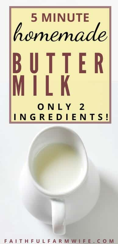 Making homemade buttermilk isn't as difficult as you might think. Check out these 2 simple recipes to make your own! #buttermilk #homemade #homemaking #fromscratch