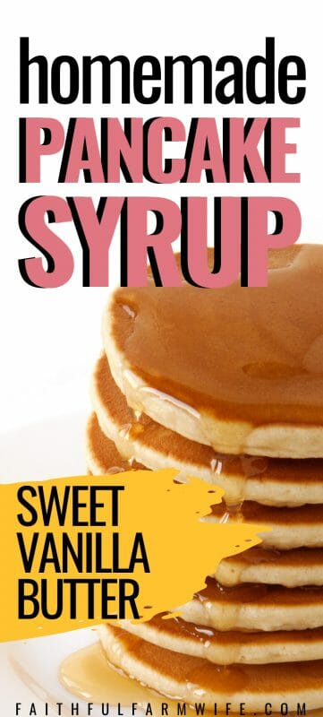 You can make your own homemade pancake syrup with basic pantry staples! Check out this simple vanilla butter syrup recipe for your next pancake breakfast. #homemade #pancakesyrup #homemadesyrup #pantrystaplerecipe #simplerecipes #breakfast
