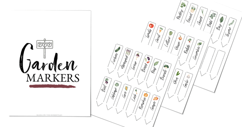 """Images for The Garden Markers Set. The cover sheet with an image of a garden marker and the words """"Garden Markers"""" Three images of sheets with 12 printable arrow shaped garden markers on each."""