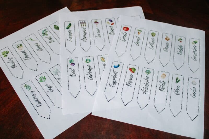 Image of printed sheets with 12 garden markers each.