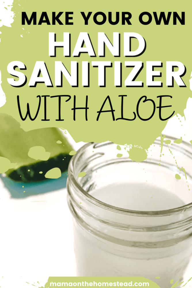 Image of homemade hand sanitizer in a glass jelly jar with an aloe vera leaf behind it. Words: Make Your Own Hand Sanitizer with Aloe