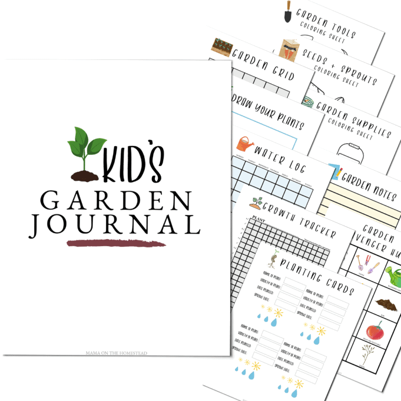 Square image of the Kids' Garden Journal | Water Log Grid Garden Grid, Garden Supplies coloring sheet, Seeds + sprouts coloring sheet, garden tools coloring sheet, Planting cards, growth tracker, draw your plants, garden notes, garden scavenger hunt