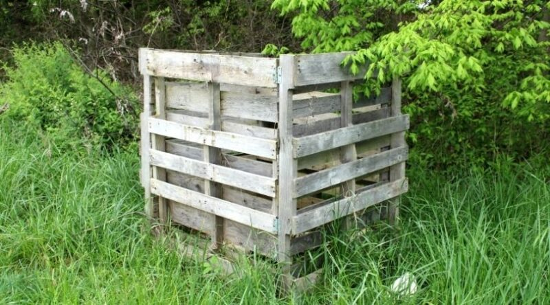 Side view: Outdoor compost bin made with 4 wooden pallets surrounded by grass and trees